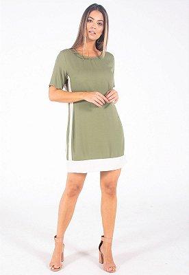 Vestido Curto Bana Bana com Jacquard Verde e Bege