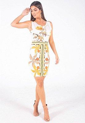 Vestido Curto Bana Bana Tubinho Estampa Floral Amarillo