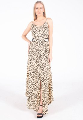 Vestido Longo Bana Bana com Barra Assimétrica Animal Print Onça