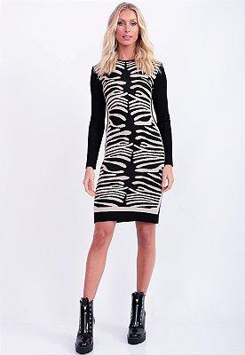 Vestido Bana Bana Tricô Jacquard Zebra Abstrata