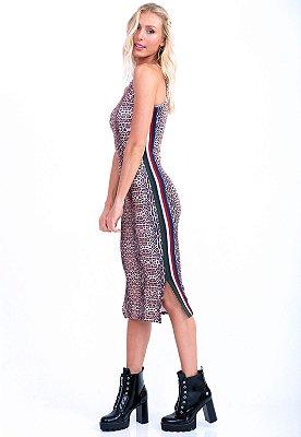 Vestido Midi Bana Bana com Tricô Lateral Animal Print Onça Clássica