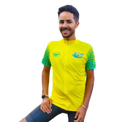 Camisa Ciclotour Masculina Vezzo Brasil Amarela - PROMOÇÃO