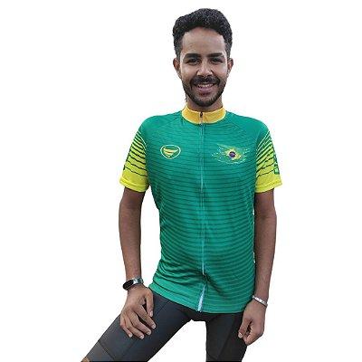 Camisa Ciclotour Masculina Vezzo Brasil Verde - PROMOÇÃO