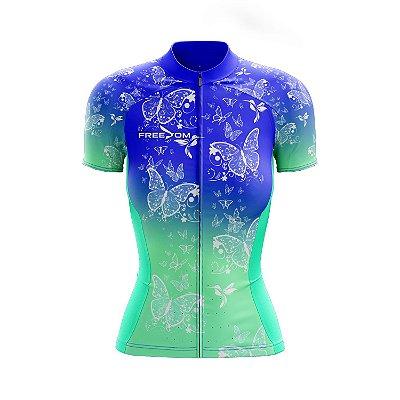 Camisa Ciclismo Feminina Freedom Borboletas