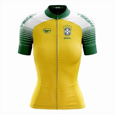 Camisa Feminina Ciclismo e MTB Vezzo Brasil 2018 Amarela