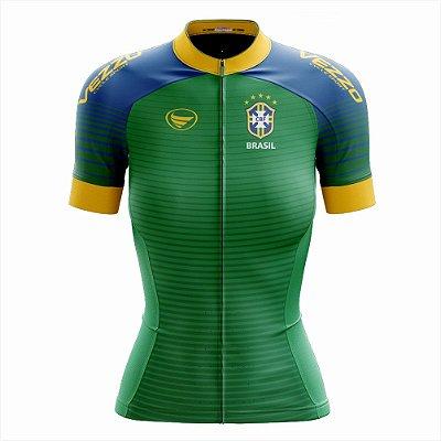 Camisa Feminina Ciclismo e MTB Vezzo Brasil 2018 Verde
