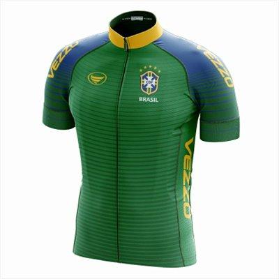 Camisa Masculina Ciclismo e MTB Vezzo Brasil 2018 Verde