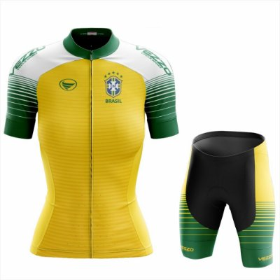 Conjunto Feminino Ciclismo e MTB Vezzo Brasil 2018 amarelo