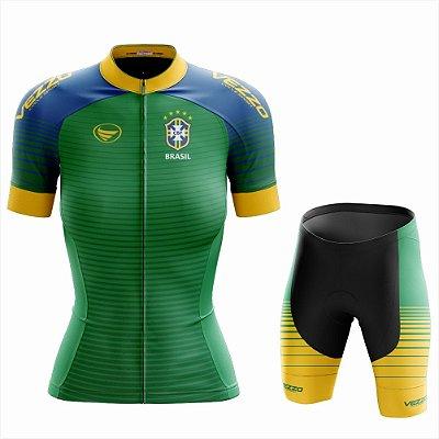 Conjunto Feminino Ciclismo e MTB Vezzo Brasil 2018 Verde
