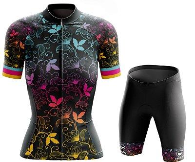 Conjunto Feminino Ciclismo e MTB Vezzo Leaf Color