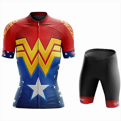 Conjunto Feminino Ciclismo e MTB Vezzo Mulher Maravilha