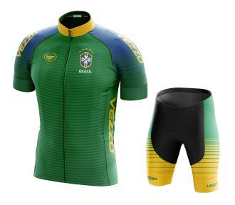 Conjunto Masculino Ciclismo e MTB Vezzo Brasil 2018 Verde
