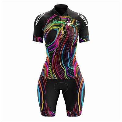 Macaquinho Feminino Ciclismo e MTB Vezzo Color Lines Black