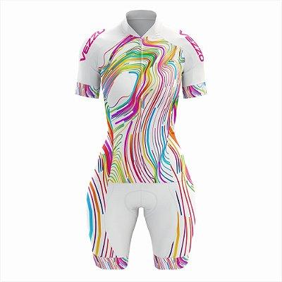 Macaquinho Feminino Ciclismo e MTB Vezzo Color Lines White