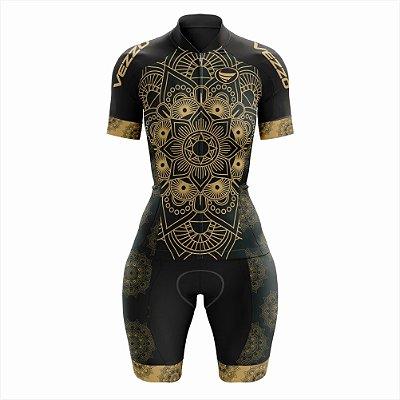 Macaquinho Feminino Ciclismo e MTB Vezzo Mandala Gold