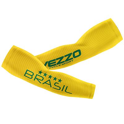 Manguito Masculino Ciclismo Vezzo Brasil 2018 Amarelo