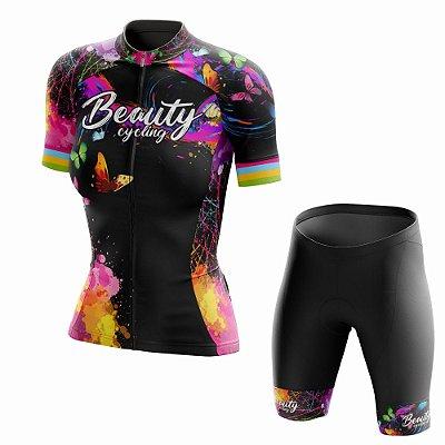 Conjunto Ciclismo Feminino Beauty Butterfly Black