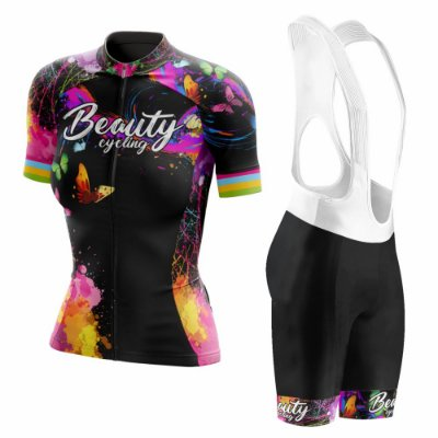 Conjunto Ciclismo Feminino com Bretelle Beauty Butterfly Black - Manga Curta e Manga Longa