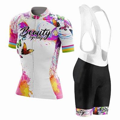 Conjunto Ciclismo Feminino com Bretelle Beauty Butterfly White - Manga Curta e Manga Longa