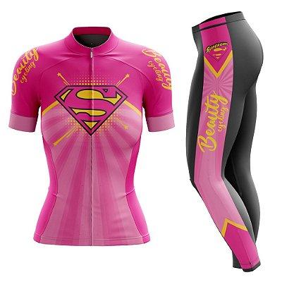 Conjunto Ciclismo Feminino com Calça - Beauty SuperGirl - Manga Curta ou Longa