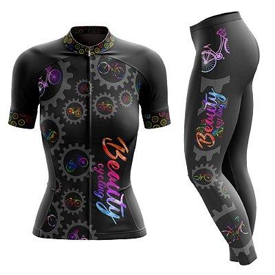 Conjunto Ciclismo Feminino com Calça - Beauty Biker - Manga Curta ou Longa