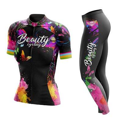 Conjunto Ciclismo Feminino com Calça - Beauty Butterfly Black- Manga Curta ou Longa