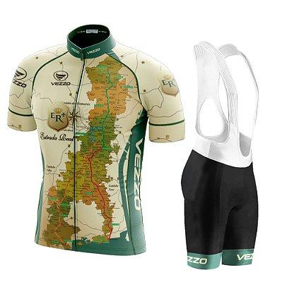 Conjunto Masculino Ciclismo e MTB Vezzo Estrada Real com Bretelle