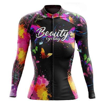 Camisa Feminina Ciclismo Manga Longa Beauty Butterfly Black