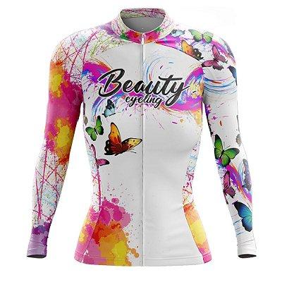 Camisa Feminina Ciclismo Manga Longa Beauty Butterfly White