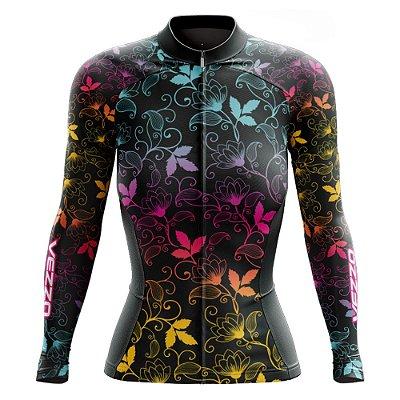 Camisa Feminina Ciclismo Manga Longa Vezzo Leaf Color