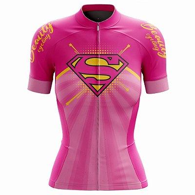 Camisa Feminina Ciclismo Beauty Supergirl