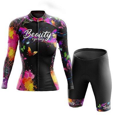 Conjunto Ciclismo Feminino Manga Longa - Beauty Butterfly Black