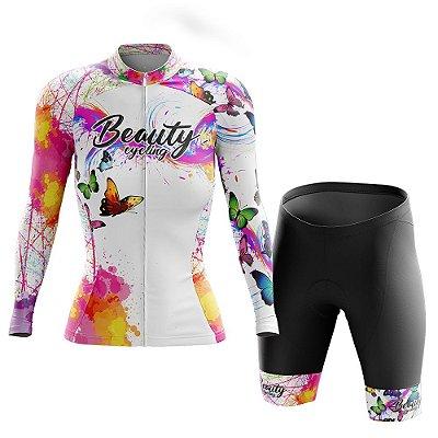 Conjunto Ciclismo Feminino Manga Longa - Beauty Butterfly White