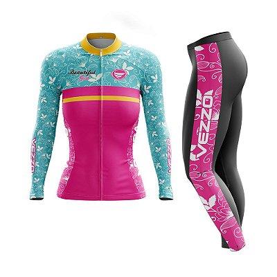 Conjunto Ciclismo Feminino Camisa Manga Longa e Calça - Vezzo Beautifull Ride