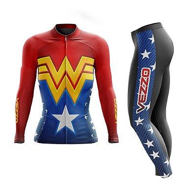 Conjunto Ciclismo Feminino Camisa Manga Longa e Calça - Vezzo Mulher Maravilha