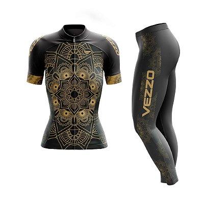 Conjunto Ciclismo Feminino Camisa Manga Curta e Calça - Vezzo Mandala Gold