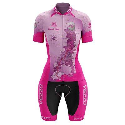 Macaquinho Feminino Ciclismo e MTB Vezzo Estrada Real Rosa