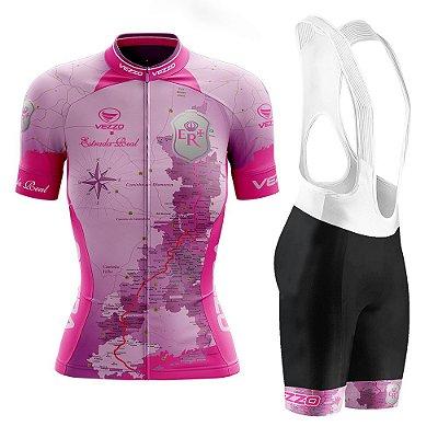 Conjunto Ciclismo Feminino com Bretelle Vezzo Estrada Real Rosa