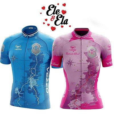 Ele & Ela - Camisa Vezzo Estrada Real Rosa/Azul