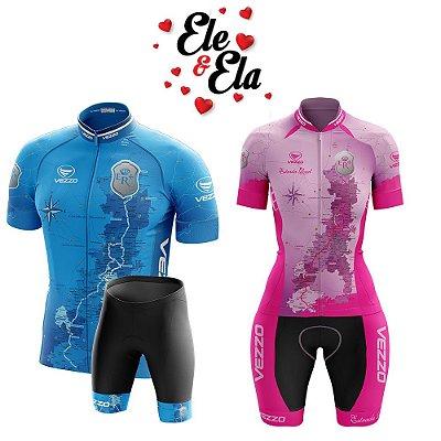 Ele & Ela - Conjunto Masculino + Macaquinho Vezzo Estrada Real Rosa/Azul