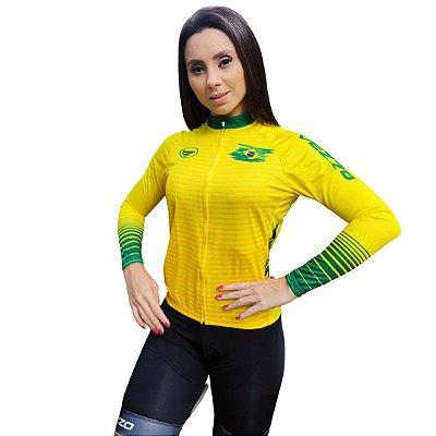 Camisa Ciclotour Feminina Vezzo Brasil Amarela - PROMOÇÃO