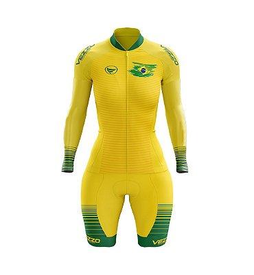 Macaquinho Ciclismo MTB Vezzo Brasil Amarelo