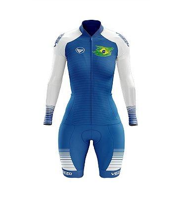 Macaquinho Ciclismo MTB Vezzo Brasil Azul