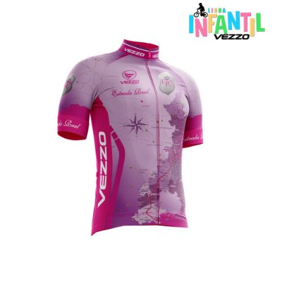Camisa Ciclotour Infantil Menina Vezzo Estrada Real Rosa