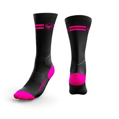 Meia Ciclismo Cano Longo Vezzo Preto/Pink