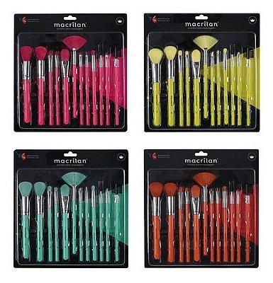 kit com 12 pincéis para maquiagem en001 neon - macrilan