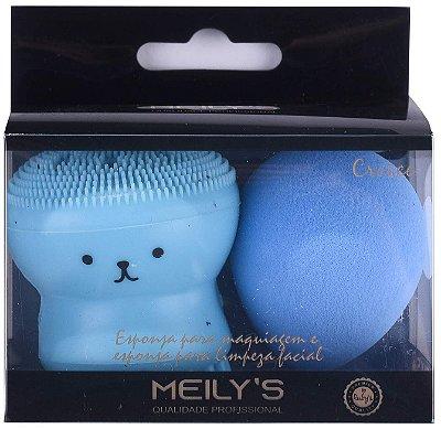 Kit Esponja p/ Maquiagem e Limpeza Facial -  Meily's