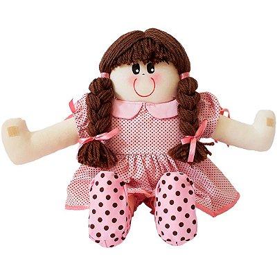 Boneca de Pano Vestido Rosa Poá