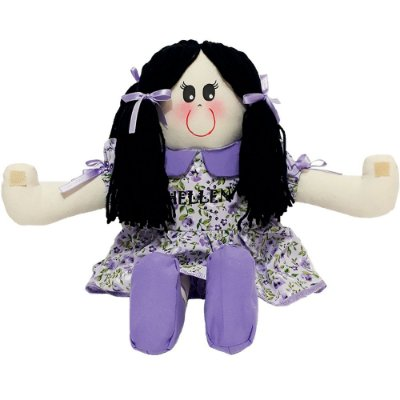 Boneca de Pano Vestido Lilás Florido