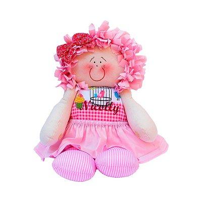 Boneca de Pano Vestido Rosa Bebê